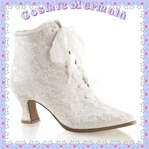 Shoes - 🆕✨Lace Up Victorian Kitten Heel Bridal Shoes✨